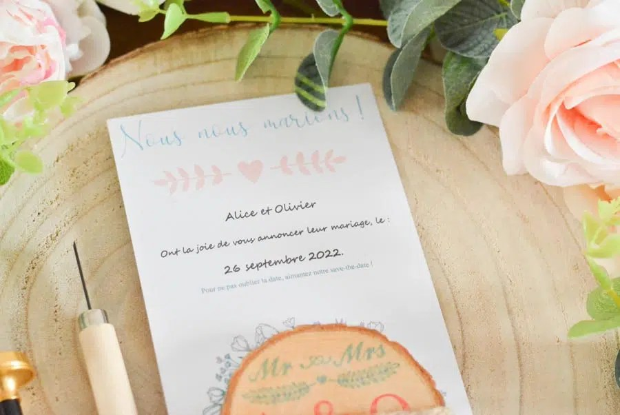 DIY save the date aimant bois mariage