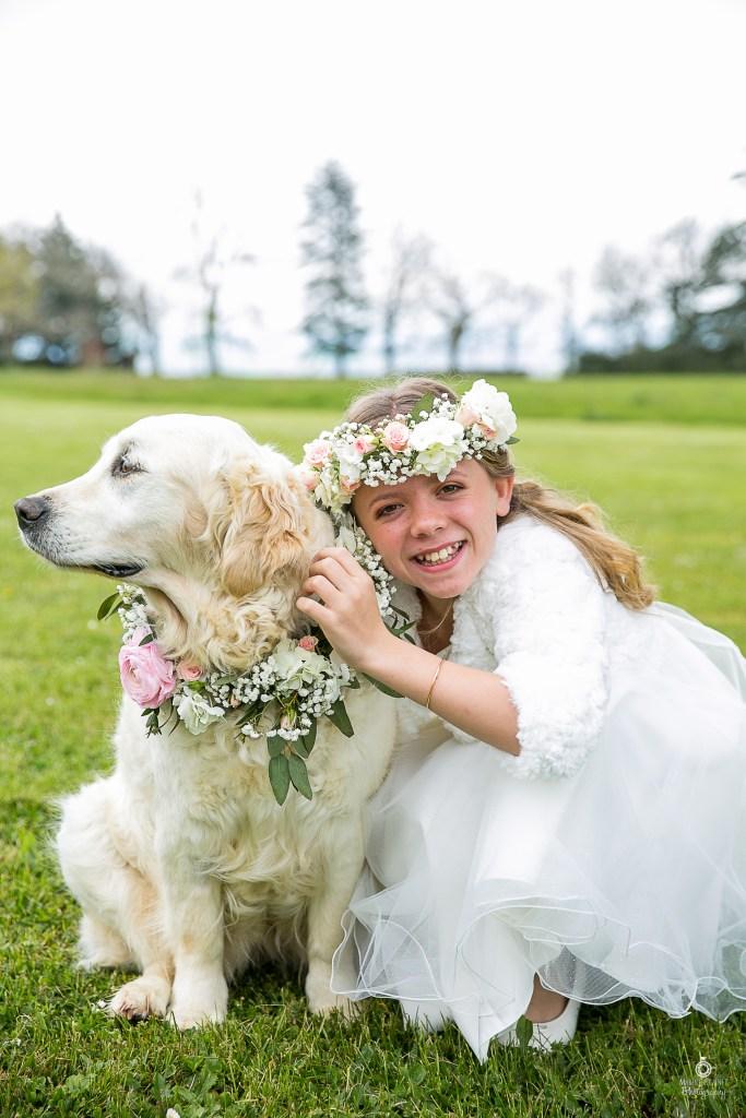 Mariage romantique chic avec un chien