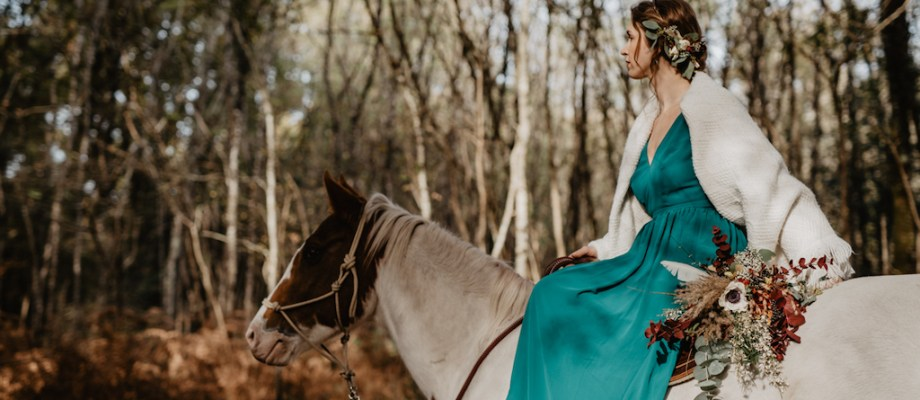 Shooting d'inspiration – Mariage Automnal à cheval