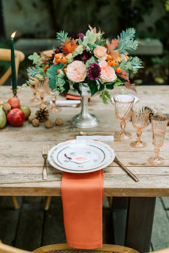 décoration de table de mariage automne