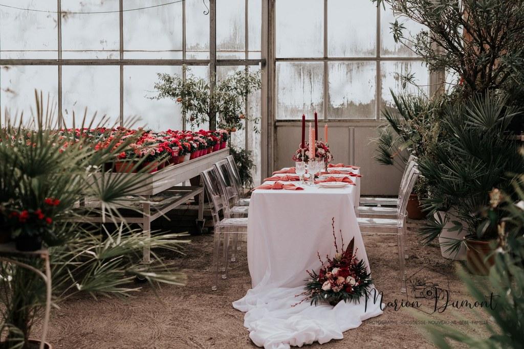 Décoration de table de mariage rose