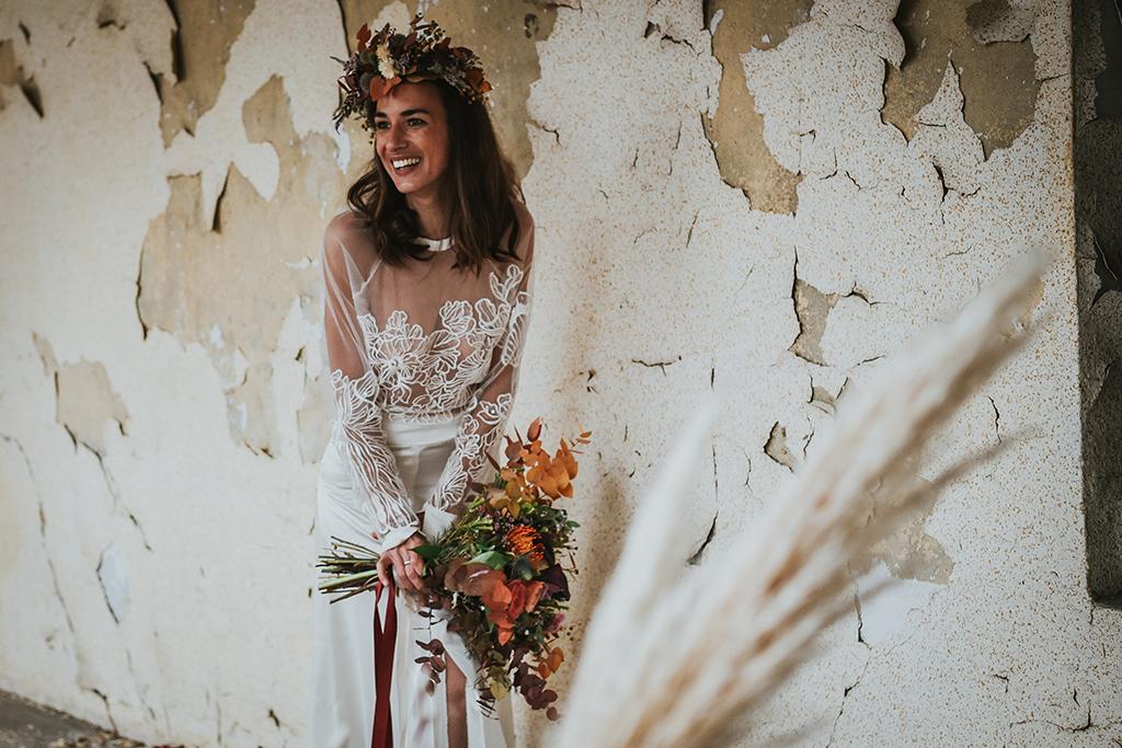 Robe de mariée bohème et fluide