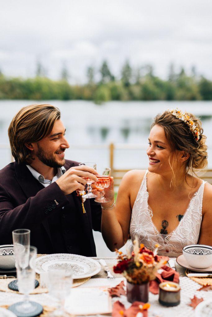 Couple de mariés gipsy bohème
