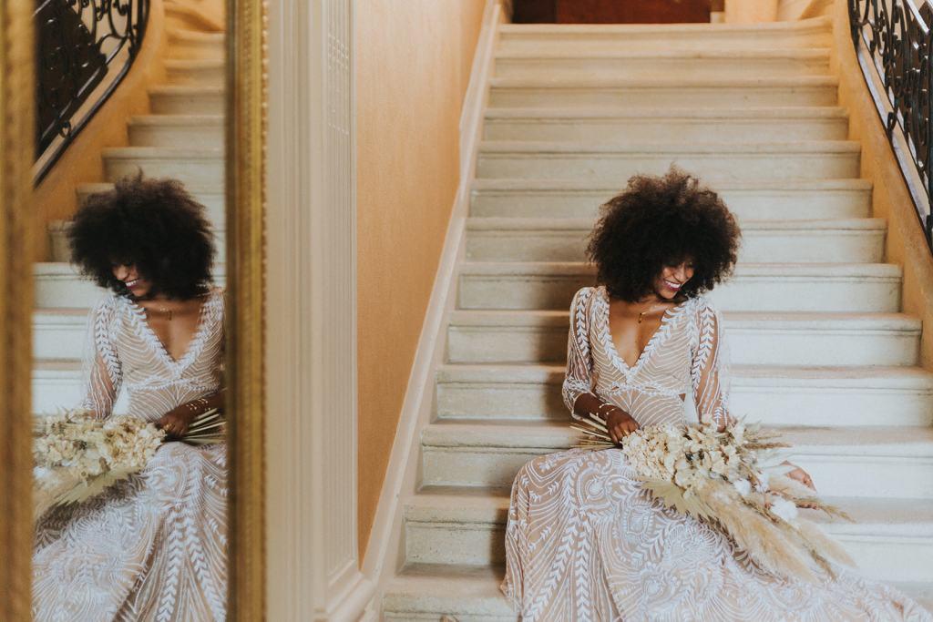 Robe de mariée boho chic près du corps