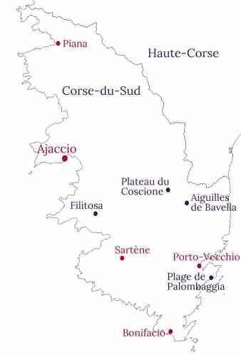 Carte Corse du Sud - La Marinière en Voyage