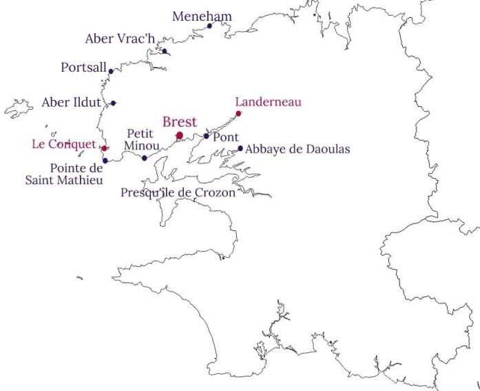 Carte des alentours de Brest - La Marinière en Voyage