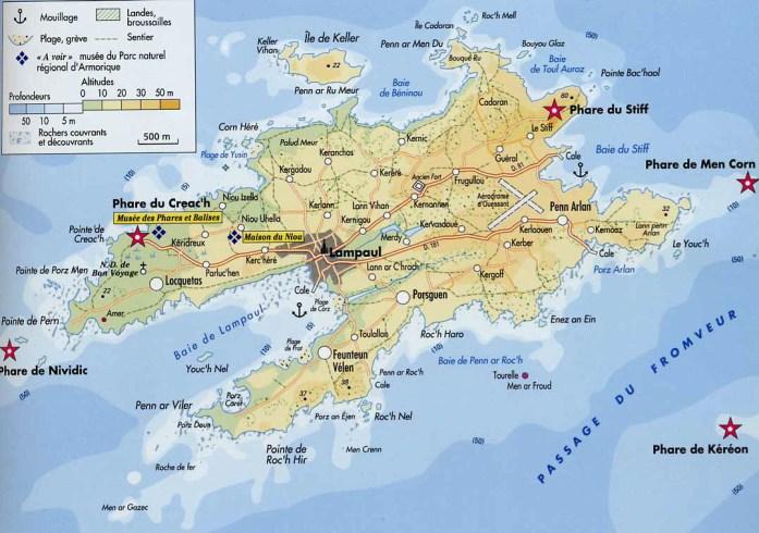Carte d'Ouessant - Blog La Marinière en Voyage