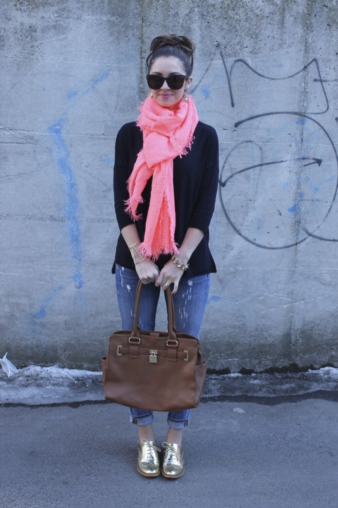 Coral Scarf & Gold Oxfords