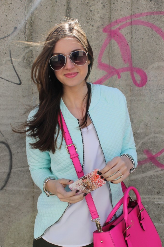 Mint Quilted Bomber & Multi-colored leopard phone case