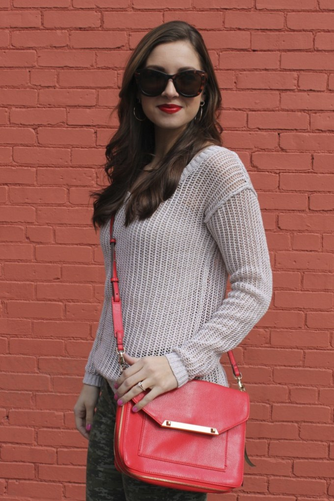 Poppy Crossbody bag & Open Knit Camel Sweater