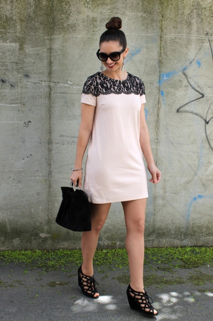 Lace & Pastel Shift with Cutout Wedges