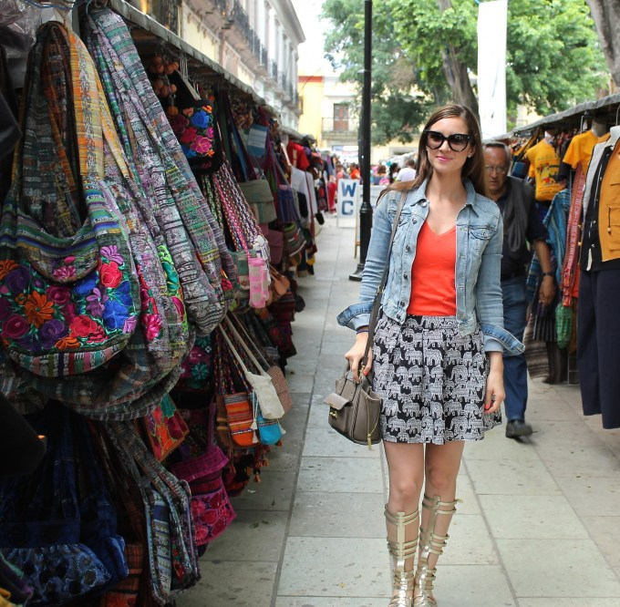 Aero Elephant Skirt with Gold Gladiator Sandals in Oaxaca, Mexico