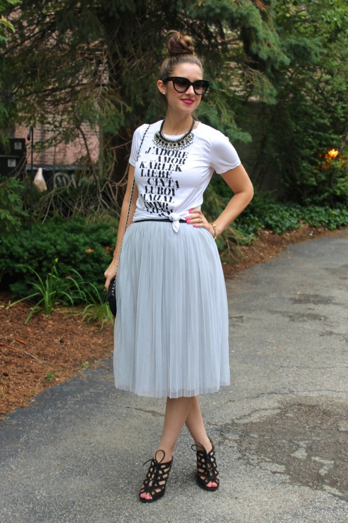 An Edgy Tulle Skirt: Amor Graphic Tee, Grey Tulle Skirt, Cutout Wedges