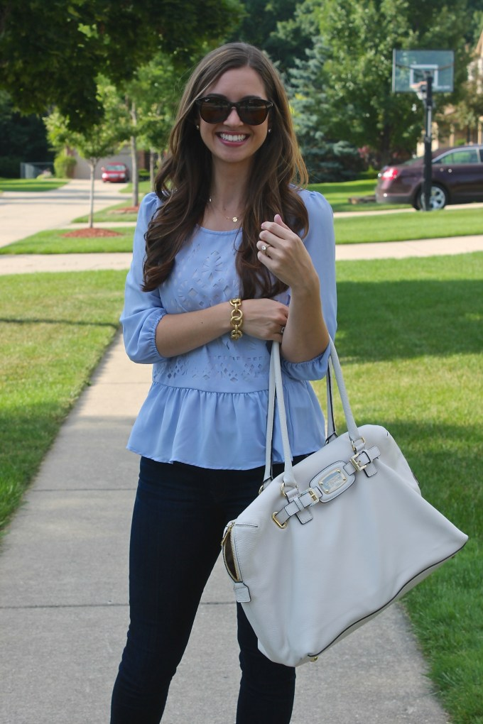 Marshalls Baby Blue Cutout Detail Blouse and white MK large tote