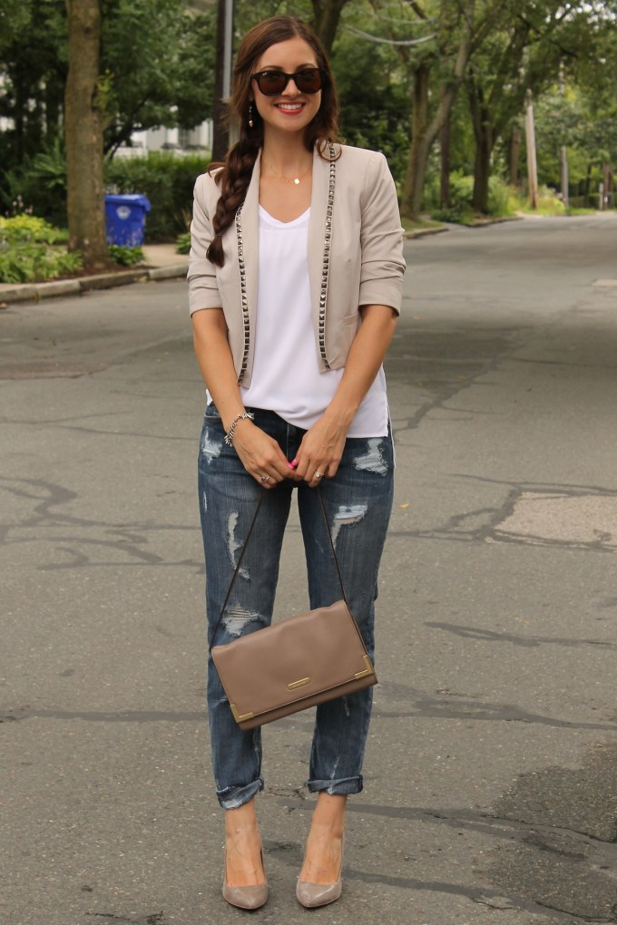 Boyfriend's Closet: Distressed Jeans, Boxy blazer & White Tee