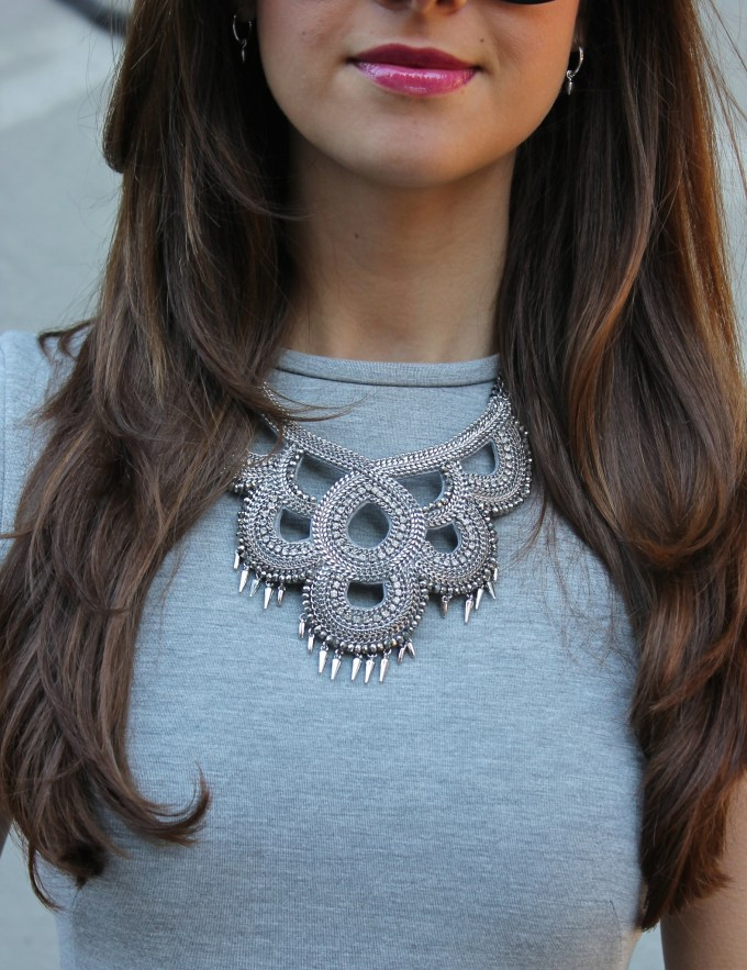 H&M Grey Neoprene Peplum with Stella & Dot Statement Necklace