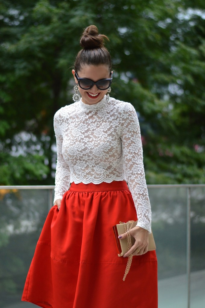 White Lace Sheer Crop top & Red Full Skirt with Bow heels and top knot