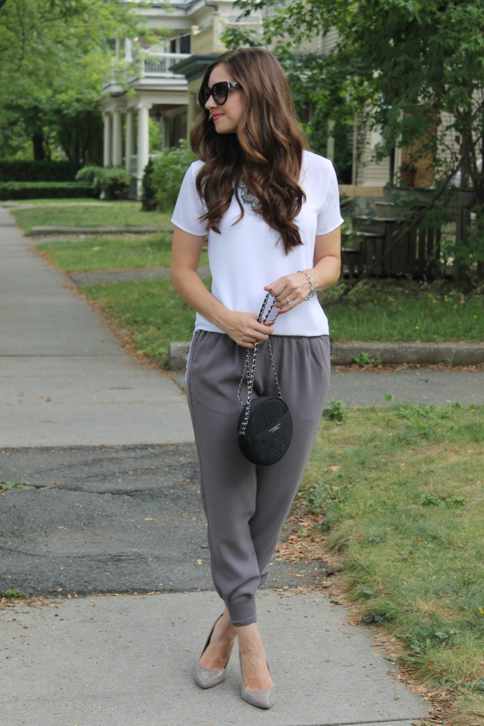 Sporty Style: Grey Joie Joggers & White Basic Tee