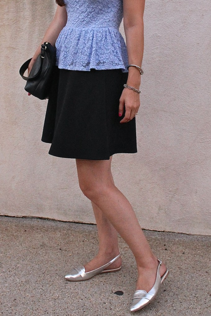 Baby Blue Lace Peplum over Black A-Line Skirt with silver Loafers
