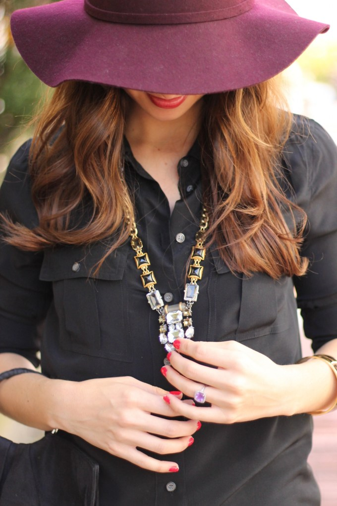 Plum Pants & Floppy Hat with Black Booties