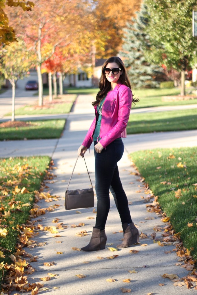 Fall in Michigan: Pink Leather Jacket with Emerald Touches