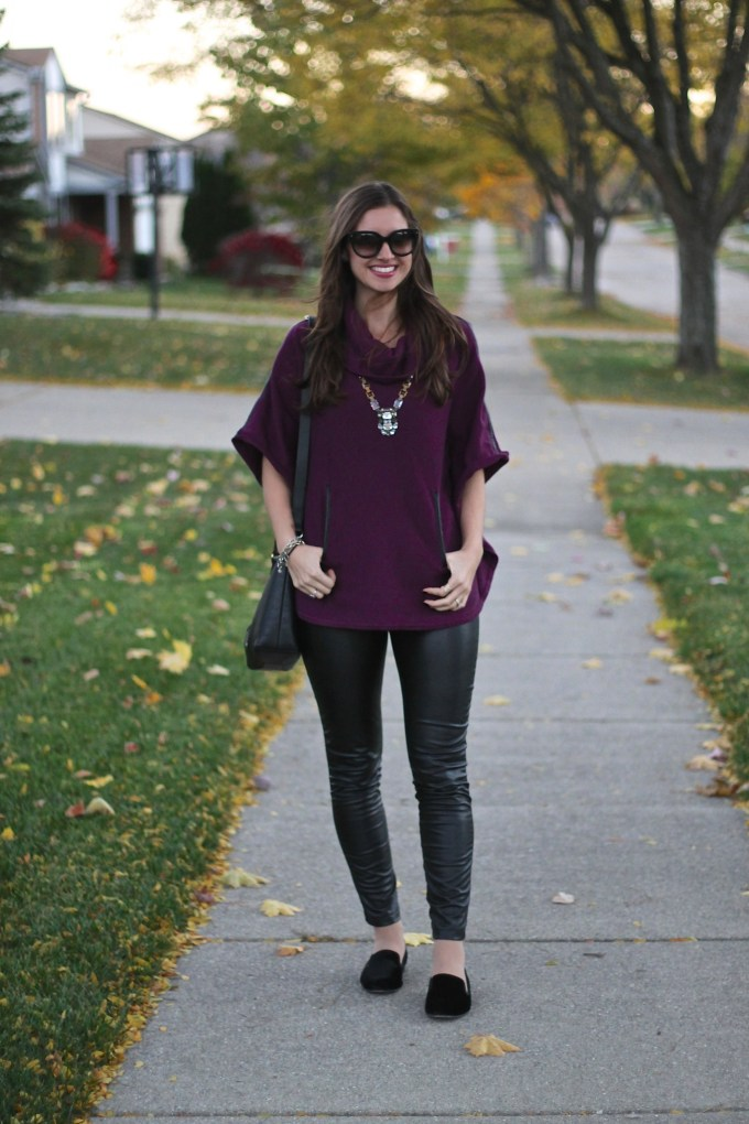 Purple Poncho with Leather Accessories