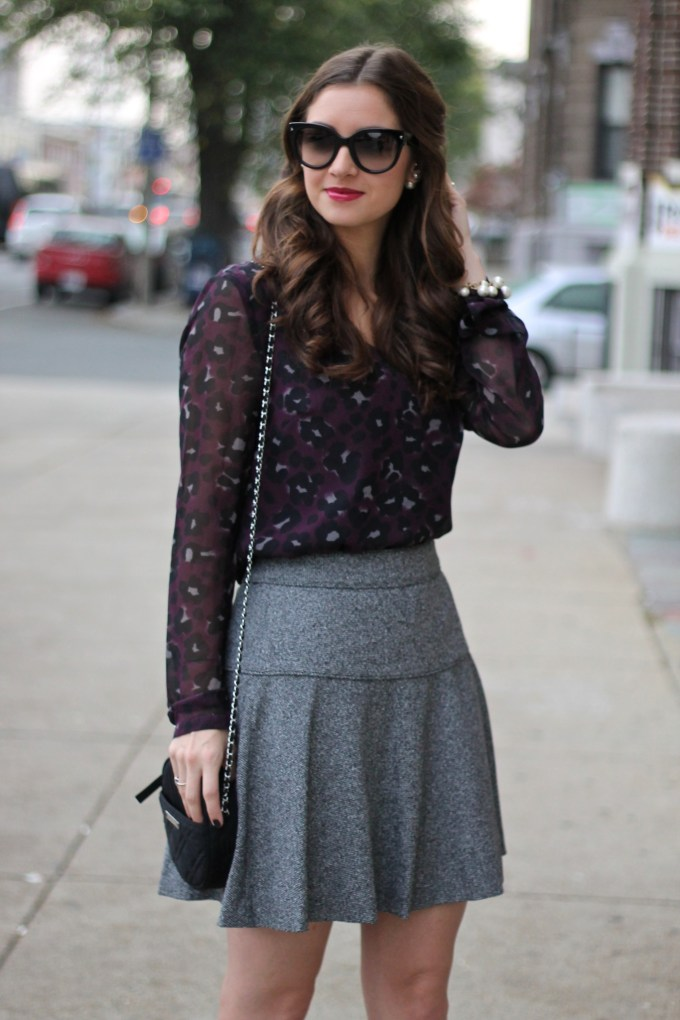 Fall Work Wear: Purple Leopard Blouse and Tweed Skirt with Black Peep-toe Booties
