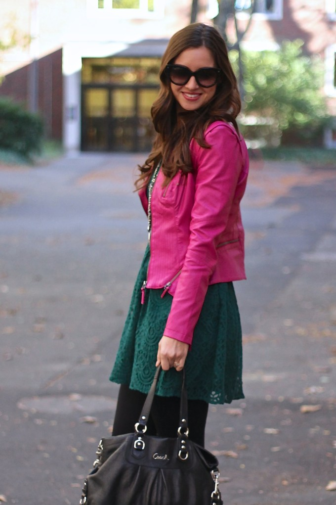 Pink leather Jacket, Emerald Lace Dress