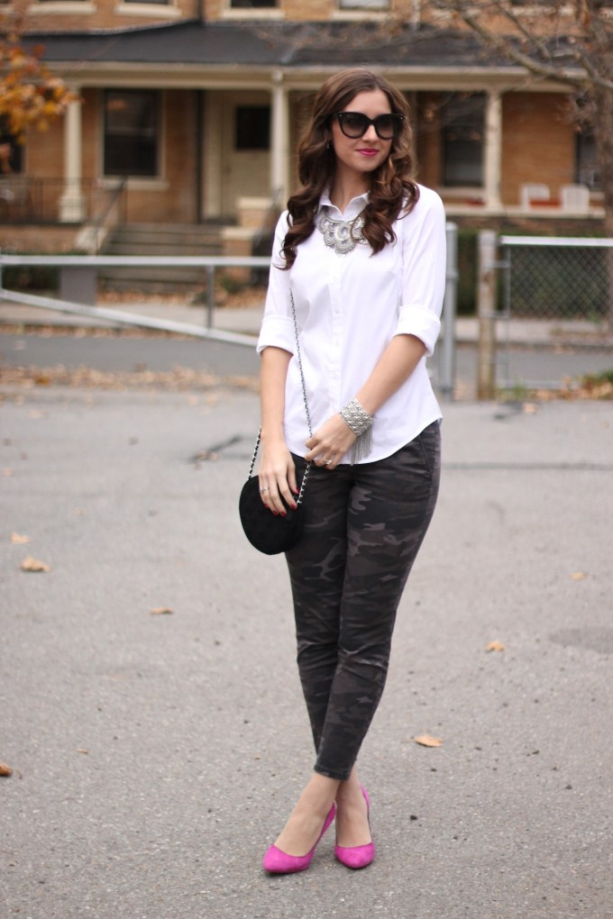 Grey Camo Pants & White Blouse