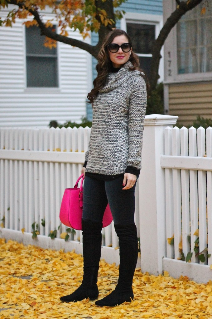 Oversized Knit Sweater with Black OTK Boots