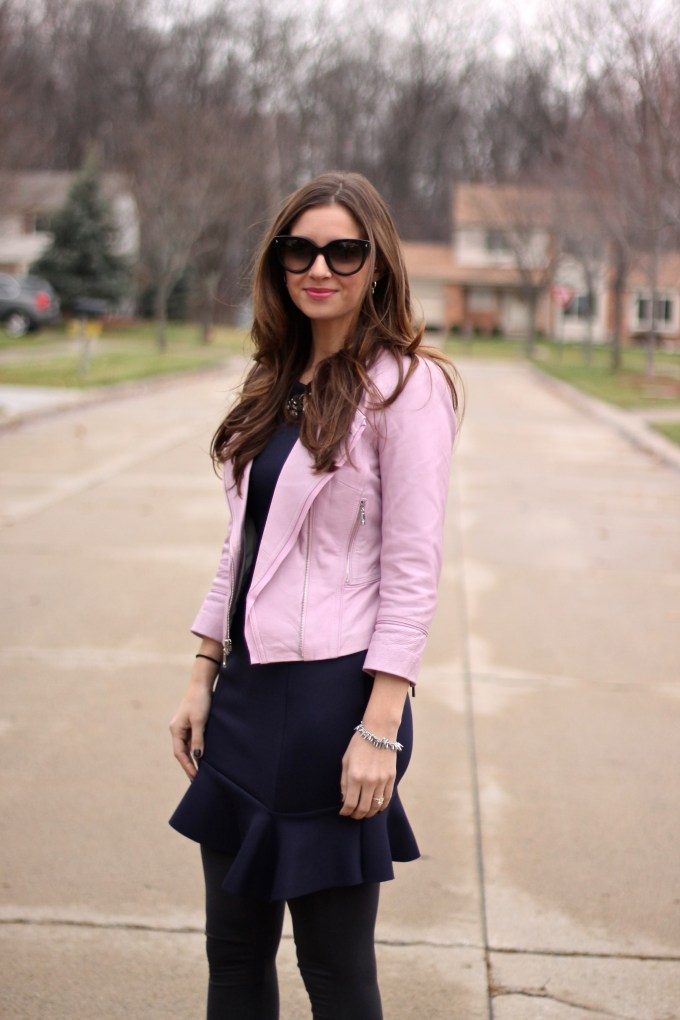 Baby Pink Leather Jacket and Navy Blue Fluted Dress