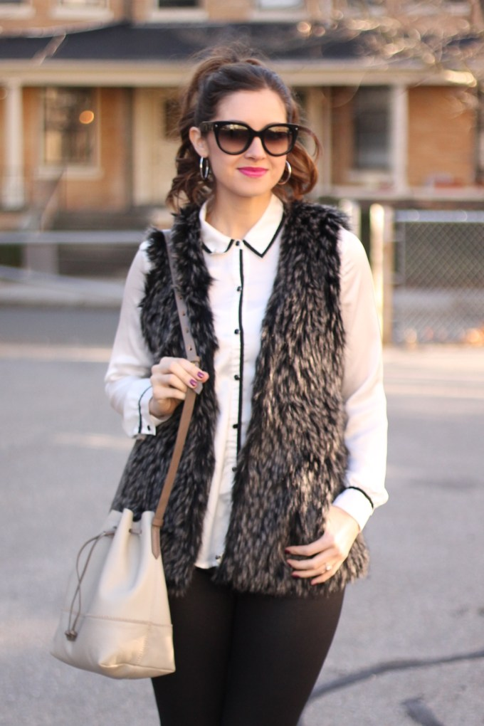 Faux Fur Black and Grey Vest with Black and White Blouse