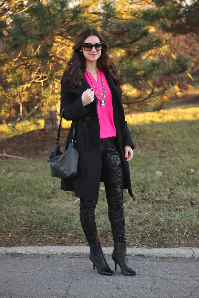 Hot Pink Blouse with Black Brocade Pants