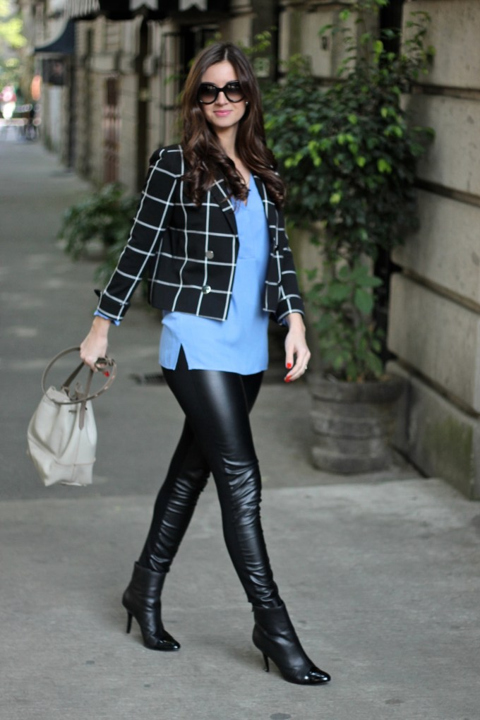 Black and White Window Pane Blazer and Baby Blue Blouse with Leather Pants\
