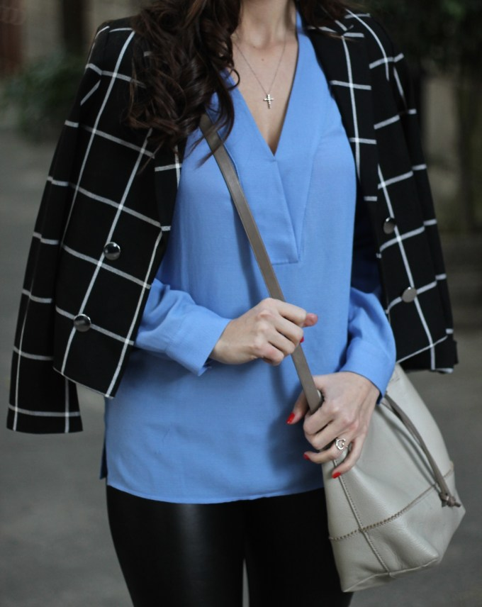 Black and White Window Pane Blazer and Baby Blue Blouse with Leather Pants