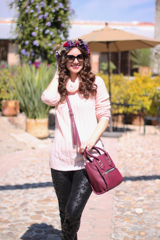 Whimsical Floral Headband and Blush Pink Sweater