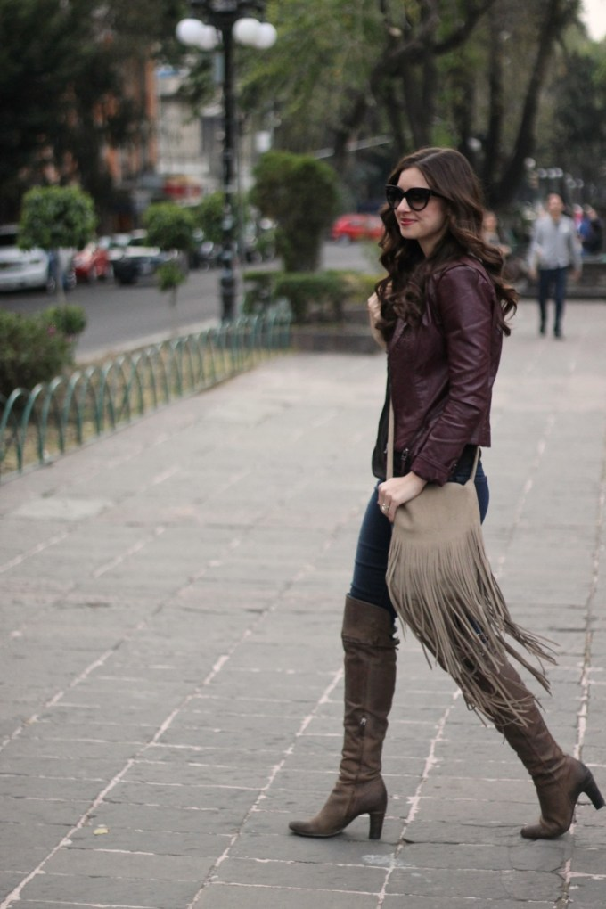 Taupe Fringe Bag and Burgunby Leather Jacket with OTK Boots