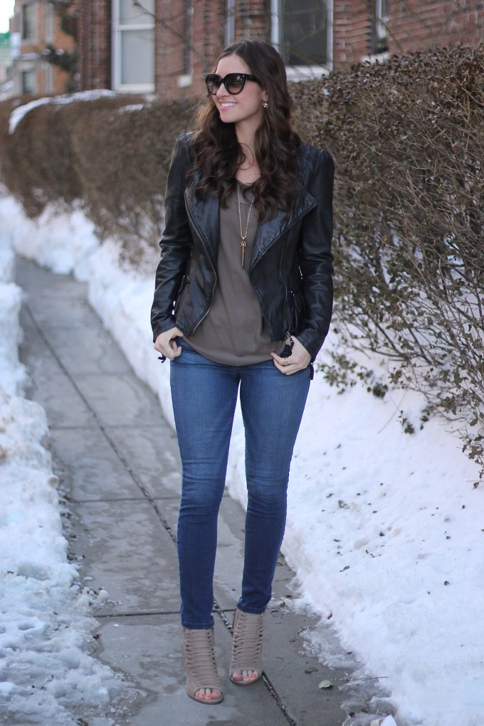 Black Leather Jacket with Olive Blouse and Khaki Suede Lace-up Peep-toe Booties