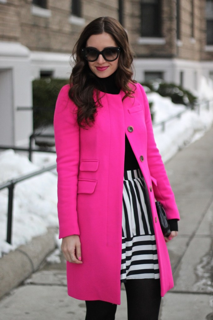 Hot Pink  J.Crew  Coat and Black and White Stripes