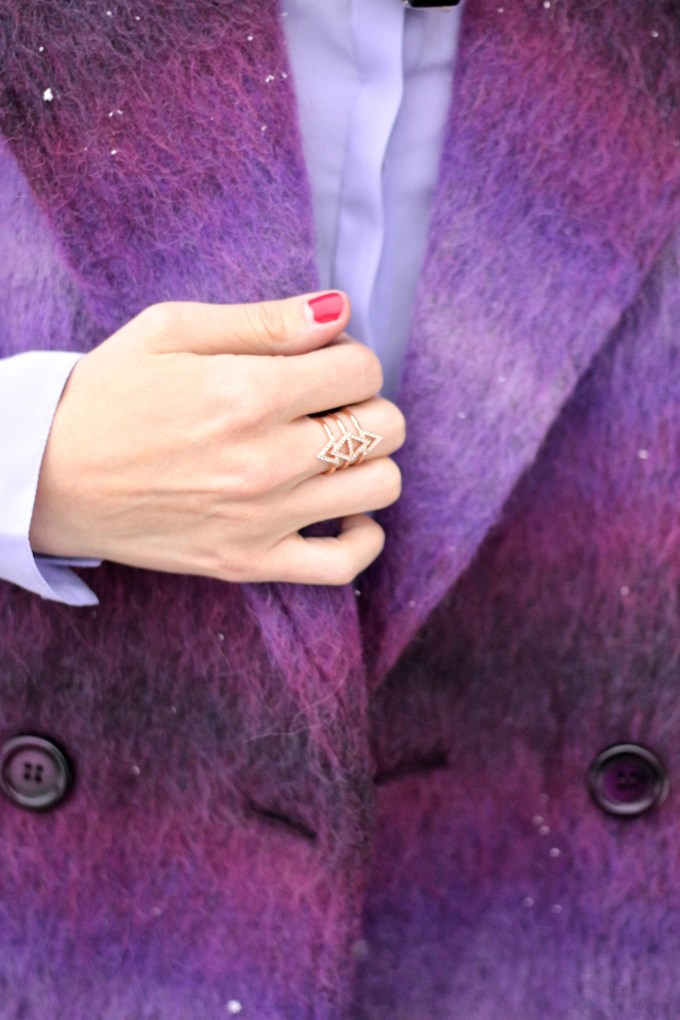 Purple Shaggy Oversize Coat with Magenta Booties with Stella and Dot Ear Jacket Earrings