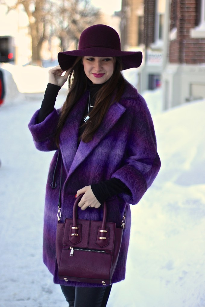 Purple mohair coat with leather pants and burgundy floppy hat