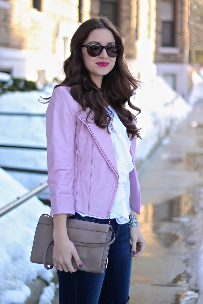WHBM baby Pink Leather Jacket, White Ruffled Top and Taupe OTK Boots