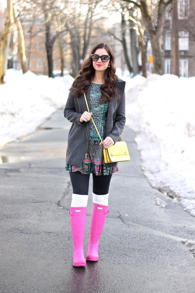 Teal Peasant Dress, Grey Coat and Pink Hunter Boots