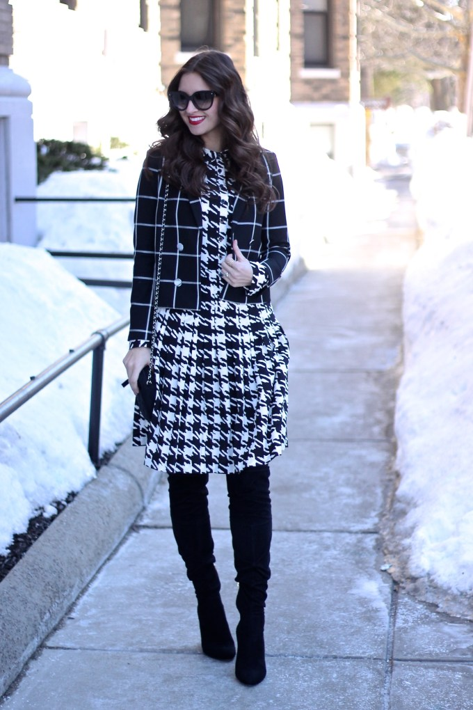 Oversized Houndstooth Dress and Windowpane Blazer
