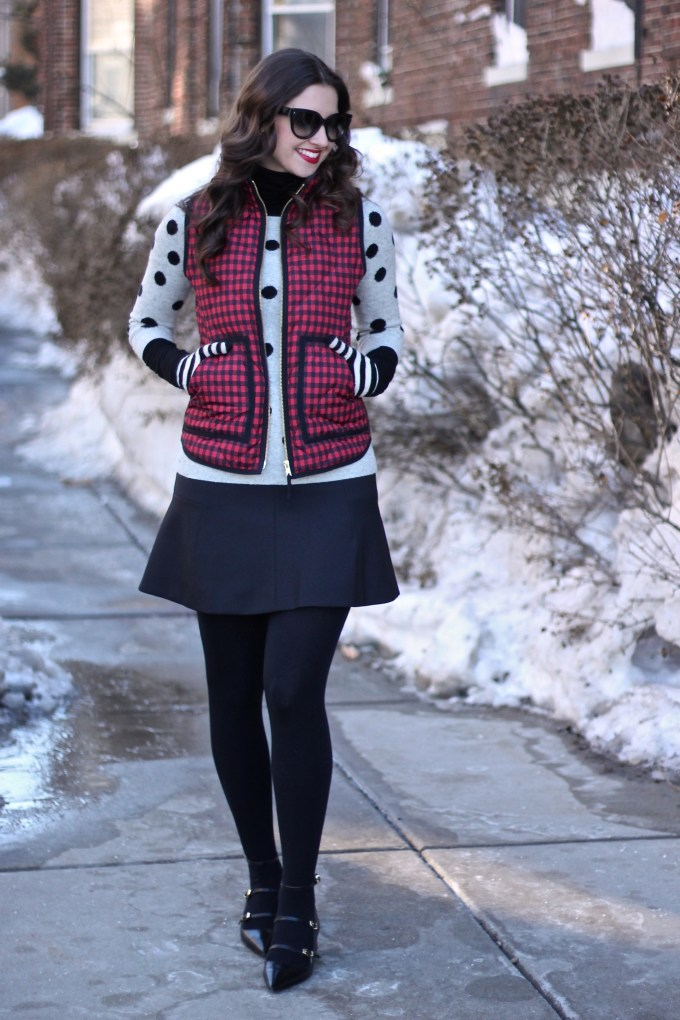 J.Crew: Checkered Vest, Polka Dot Sweater & Fluted Skirt