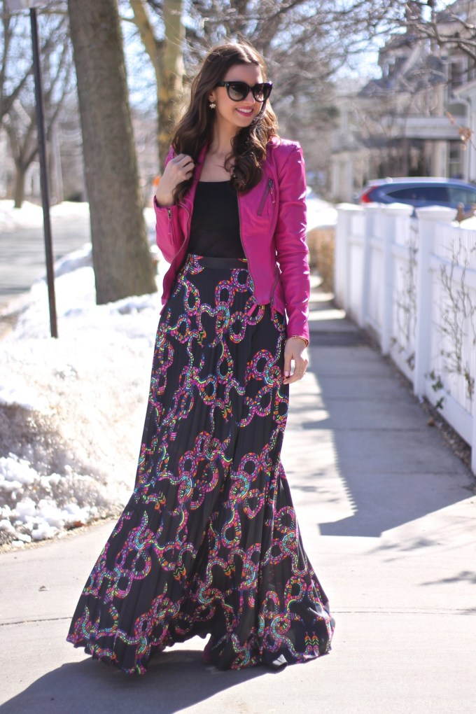 Hot Pink Leather Jacket & Mara Hoffman Snake Print Maxi Skirt