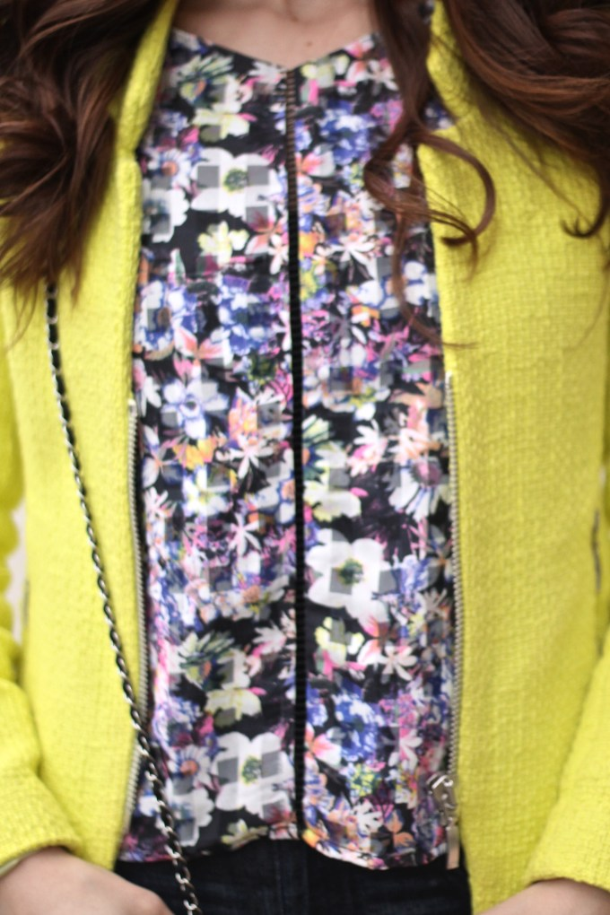 Neon Florals and Chartreuse Blazer with Pink Cap-toe Heels