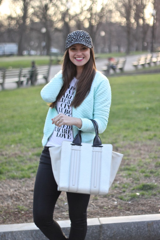 Quilted Mint Jacket, Graphic Tee, Silver Platform Sneakers, Black and White Baseball Hat