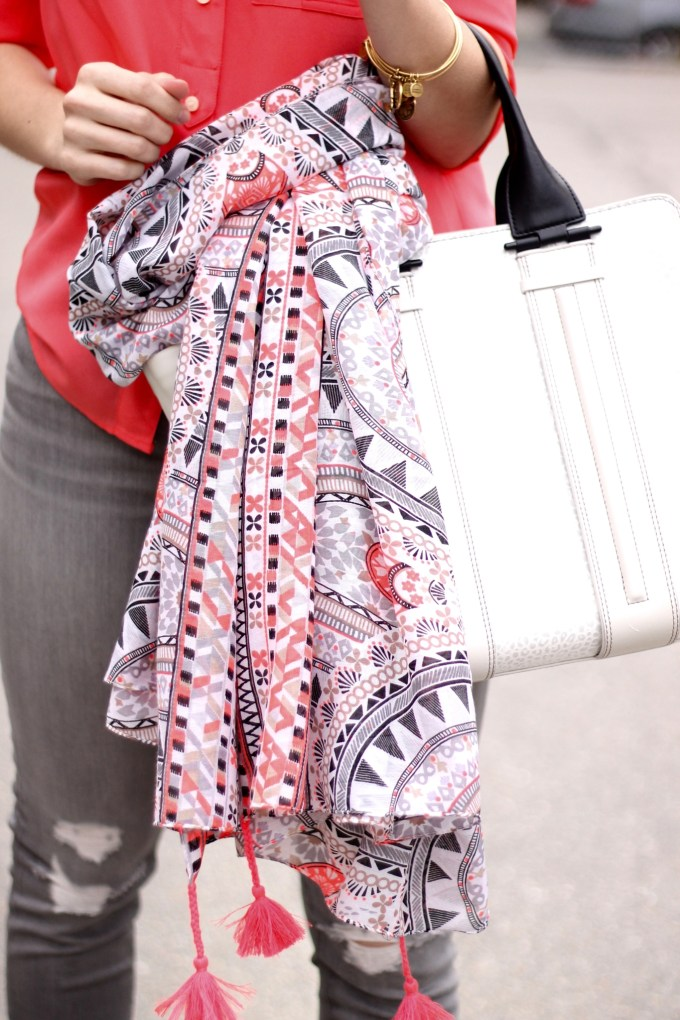 Steve Madden black, white, taupe and neon coral scarf with tassels  and Pour La Victoire colorblock bag