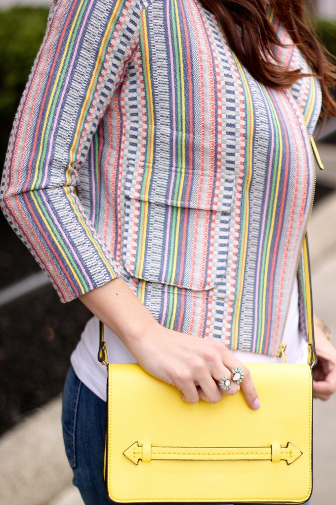 Multicolored jacket and yellow crossbody bag